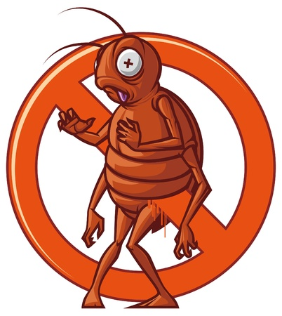 cockroach: Isolated illustration Pest extermination sign