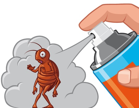 insecticide: Spraying  insecticide on cockroach