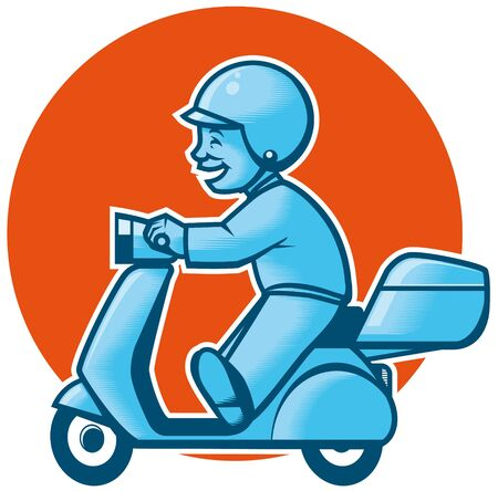 Delivery scooter Flat colors Red and blue Stock Photo