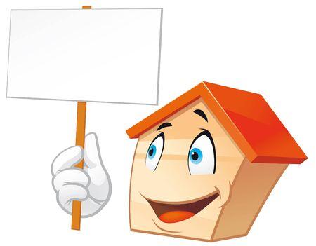 mani cartoon:  Mascotte di casa con un cartello bianco