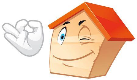 House mascot doing ok sign Stock Photo - 9540280