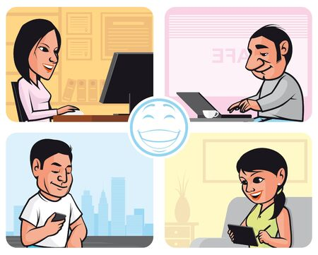 Vector illustration People connected to internet using diferent devices(pc,laptop,smartphone,tablet pc) in different places(office,cafe,street,home) Stock Vector - 9592682
