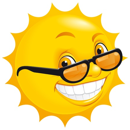 Smiling sun with sunglasses photo