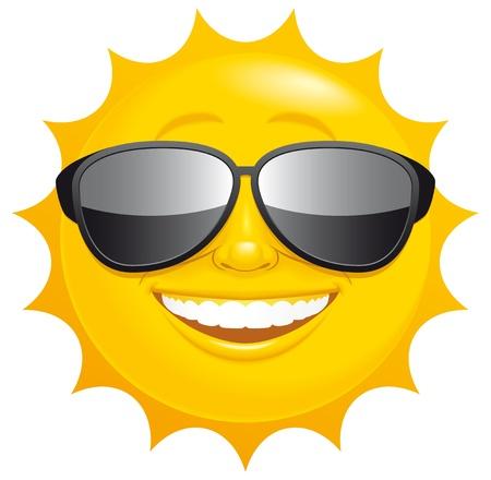 sol caricatura: Aislado sol Smiling ilustrado con gafas de sol Foto de archivo