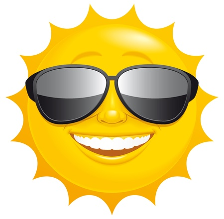 smiling sun: Isolated illustrated Smiling sun with sunglasses