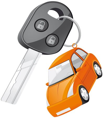 rent a car: Isolated illustration Car key Stock Photo