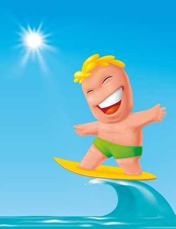 cartoon surfing: Illustration Cartoon surfer character