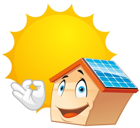 solar panel house: House mascot with solar panels