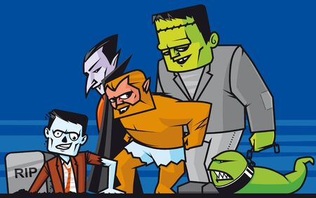 monstrous:  Monsters group Zombie going out from his tombstone,dracula,werewolf,frankenstein and monstrous worm