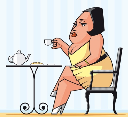 Vector illustration Woman drinking tea illustration