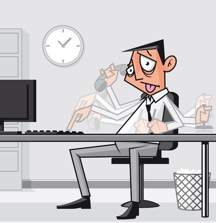 fullbody:  Stressed overworked businessman  Stock Photo