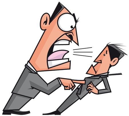 jefe enojado: Jefe gritando a su empleado