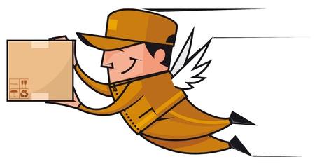deliveryman: Alati fattorino volare con il pacchetto Archivio Fotografico
