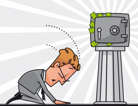 strongbox:  Businessman praying to the Money god