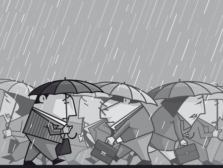 Depressed  businesspeople walking under the rain photo
