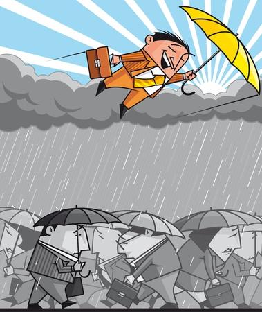 optimismo: Oportunista hombre de negocios volando sobre la depresión económica