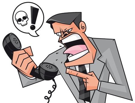 point d exclamation: Furieux d'affaires hurlant au téléphone Banque d'images
