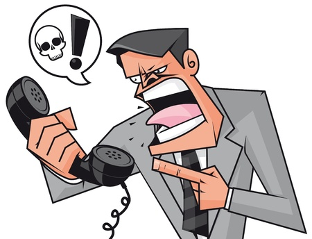phone conversation: Furious businessman screaming to the phone Stock Photo