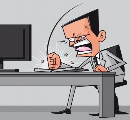 Furious frustated businessman hitting the computer keyboard photo