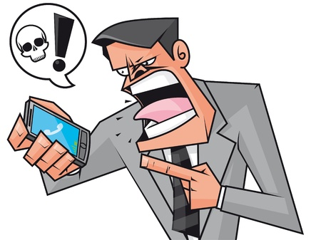 Fuus businessman screaming to the phone Stock Photo - 11069607