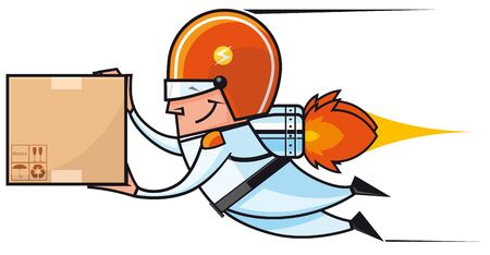delivery man:  Rocket deliveryman flying with package Stock Photo