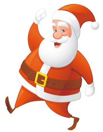 Santa walking and waving