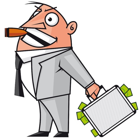 banker:  Bussinessman with the money suitcase