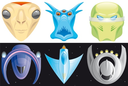 Set of Alien and spaceships icons photo