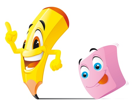 eraser:  Pencil and eraser cartoon characters