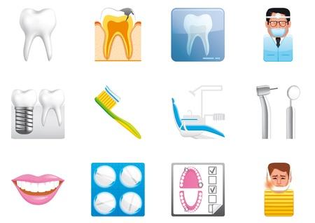 equipos medicos: Iconos dentales Foto de archivo