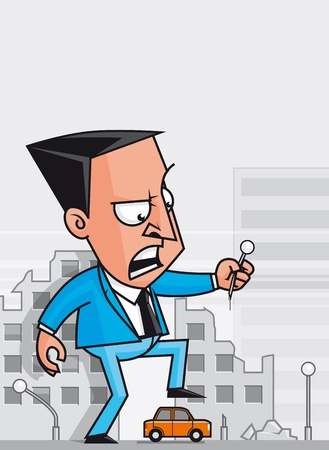 destroying: Giant businessman destroying the city Stock Photo