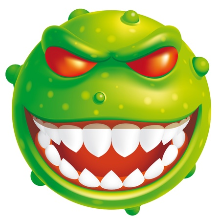 monster face: Isolated illustration Virus Stock Photo