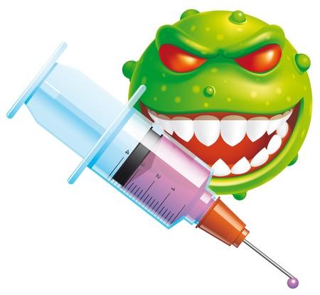syringe injection: Virus vaccine