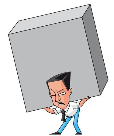 enormous: Businessman raising an  enormous weight Stock Photo