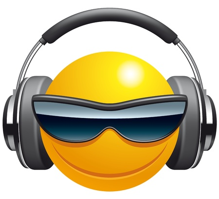 sunglasses cartoon: Emoticon DJ