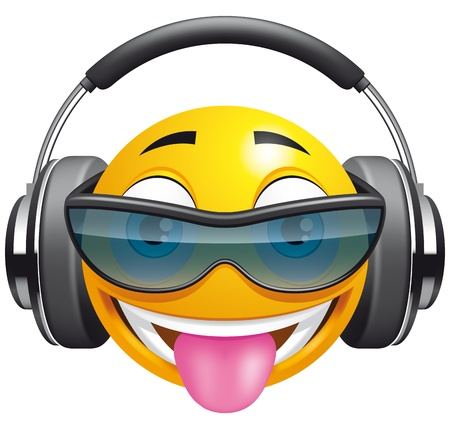 headphones icon:  Emoticon DJ Stock Photo
