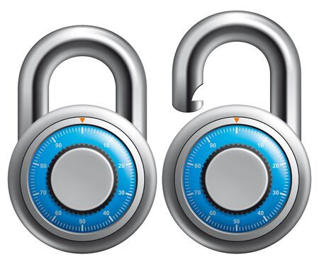 combination lock: Padlock opened and closed