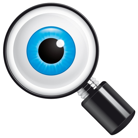 front of the eye: Eyeball in magnifying glass Stock Photo