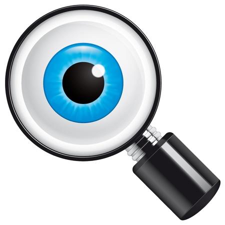 eyeballs: Eyeball in magnifying glass Stock Photo
