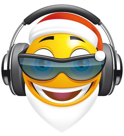 primer plano cara: Emoticon de Santa DJ