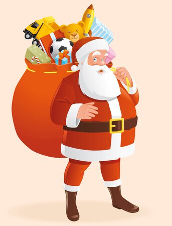lenght: Santa with bag full of gifts Stock Photo