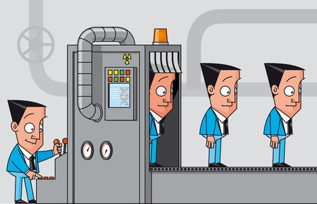 Cloning machine of businessmen