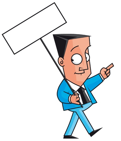 demonstrator: Businessman protestor with blank sign Stock Photo