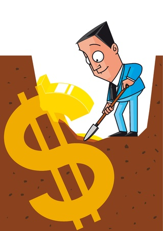 unearth: Businessman unearthing the money