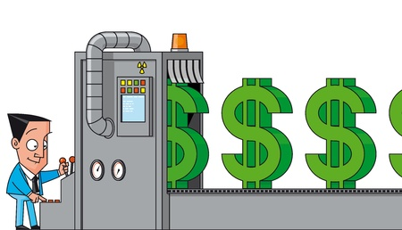 money cartoon: Money making machine