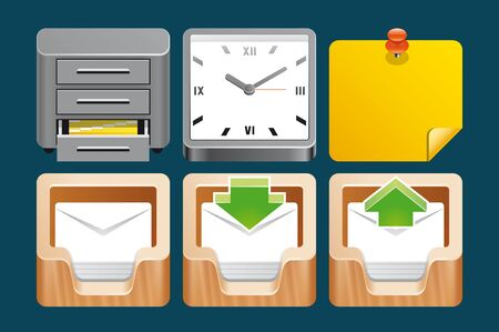 inbox: Office icons Stock Photo