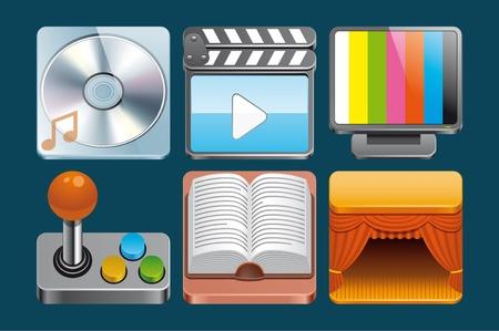 slate film: Leisure  icons Stock Photo