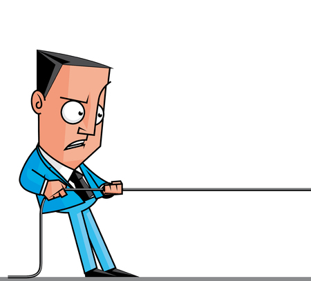 lenght: illustration Businessman pulling a rope