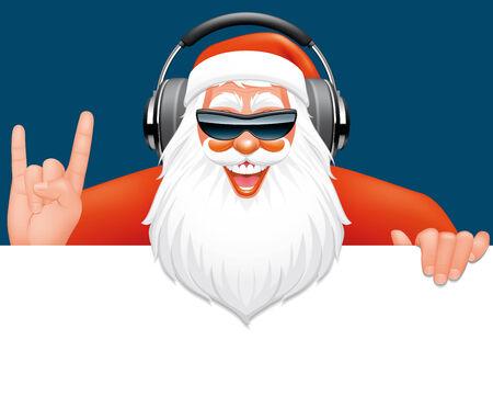 music dj: Santa dj closeup on a blank sign