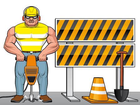 presslufthammer: Man arbeitet mit dem Presslufthammer